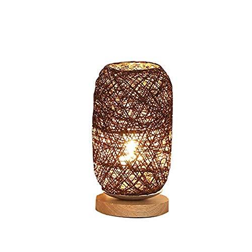YHYGOO Tischlampe Holz Rattan Schnur Kugel Lichter Tischlampe Zimmer Home Art Decor Schreibtisch Licht (braun)