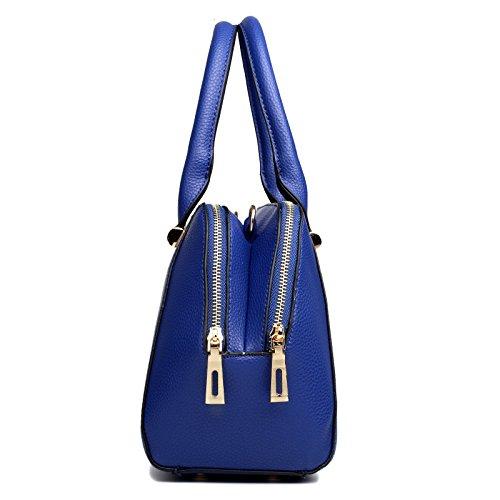 Miss Lulu Designer-Schulterhandtasche aus Leder Dunkelblau