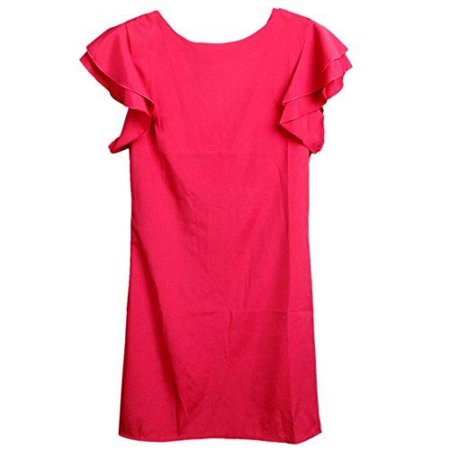 QIYUN.Z Les Femmes Falbala Épaule Style Backless Couleur Solide Robe De Changement Mini Rose Rouge