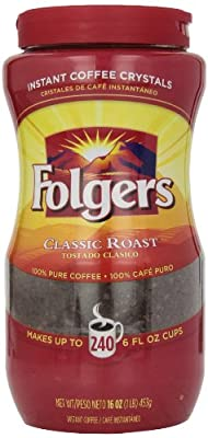 Folgers Instant Coffee Crystals, Classic Roast, 16 Ounce from J.M. Smucker Co.
