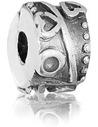 """Andante-Stones - original, cuenta de plata de ley 925 sólida, cierre a presión, elemento separador, """"corazones"""", elemento bola para cuentas European Beads + saco de organza"""