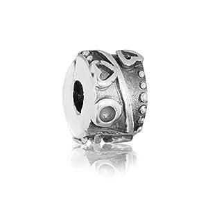 "Andante-Stones 925 Sterling Silber Bead Clip Stopper Charm ""Herzen"" Element Kugel für European Beads + Organzasäckchen"