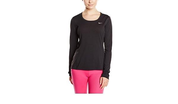 Nike T Shirt da Donna, a Manica Lunga Dri Fit Contour
