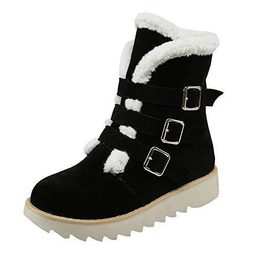 MYMYG Damen Stiefeletten Chelsea Boots Frauen Wildleder Runde Spitze Schnalle Flache Schuhe halten warme Kurze Schlauch Schneeschuhe Lace-Up einfarbig Martain Boot