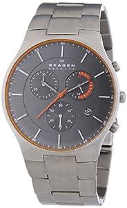 Skagen 0 - Reloj de cuarzo para hombre, con correa de titanio, color gris de Skagen