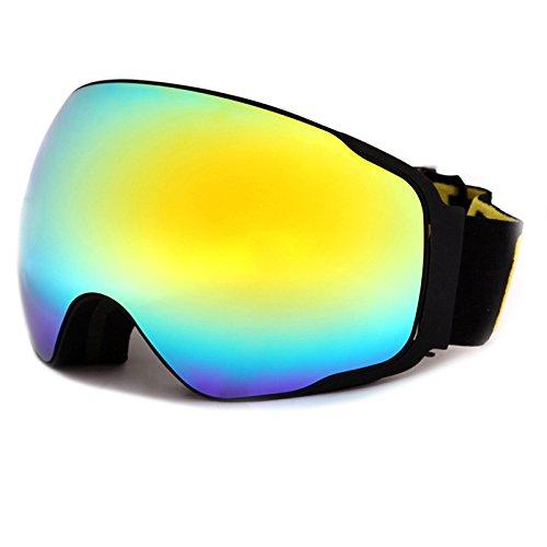 Meao Maschere da Sci con Staccabile Grandangolare Lenti Goggles Ampio Angolo di Visione Anti Fog UV 401 Protezione 4200 Nero