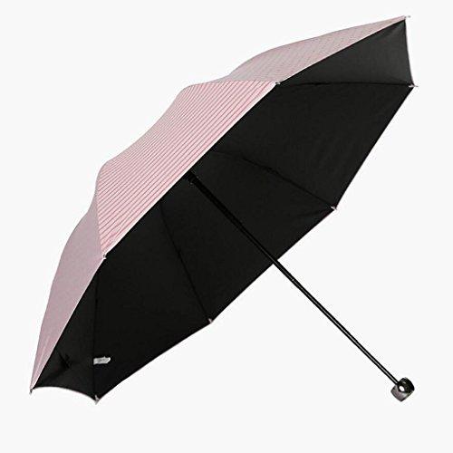KKY-ENTER Einfacher blasser rosa Regenschirm UV-Regenschirm drei faltender Regenschirm kreativer Persönlichkeitsregenschirm Beweglicher Regenschirm