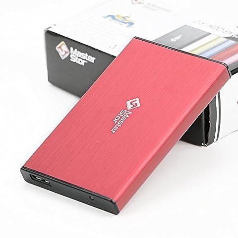 Masterstor (2 ans de garantie) 250Go MS Rouge disque dur 6,3 cm SATA disque dur externe USB 3.0 Disque Dur Externe portable ultra rapide pour ordinateur portable et PC disque dur