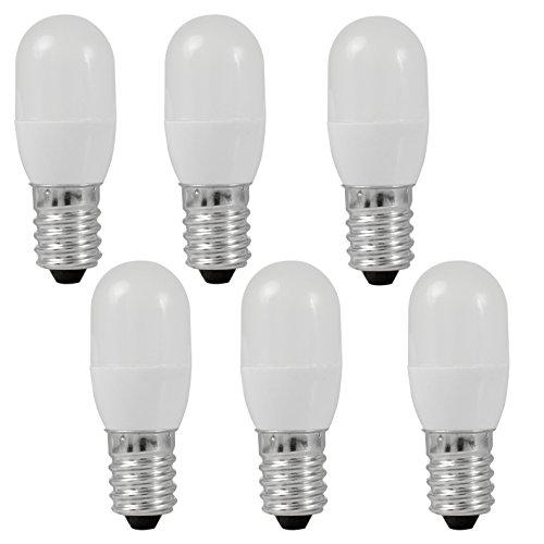 MENGS® 6 Stück E14 0.5W LED lampe 3x5050 SMD Für Kühlschrank Leuchtmittel Mit PC Mantel (60LM, Warmweiß 3000K, AC 220 - 240V, 180º Abstrahlwinkel, Ø20×54mm) Super energiesparend licht gut für die Wärmeabgabe