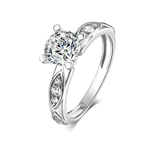 SonMo Ring Sterling Silber 925 Solitär Ring Silber Weiß Diamant Ringe Zirkonia Verlobungsring Paarringe Eheringe Ringe Damen Größe 60 (19.1)