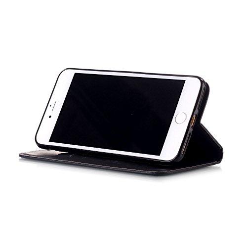 iPhone Case Cover IPhone 7 plus Cover, papillon fleurs en relief en cuir synthétique étui portefeuille avec sangle de main pour IPhone 7 Plus ( Color : Brown , Size : IPhone 7 Plus ) Black