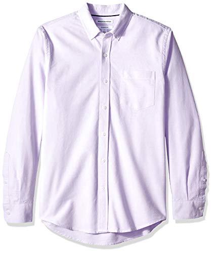 Amazon Essentials Slim-Fit Long-Sleeve Solid Pocket Oxford Shirt Freizeithemd, Violett (Lavender Lav), US M (EU M) -