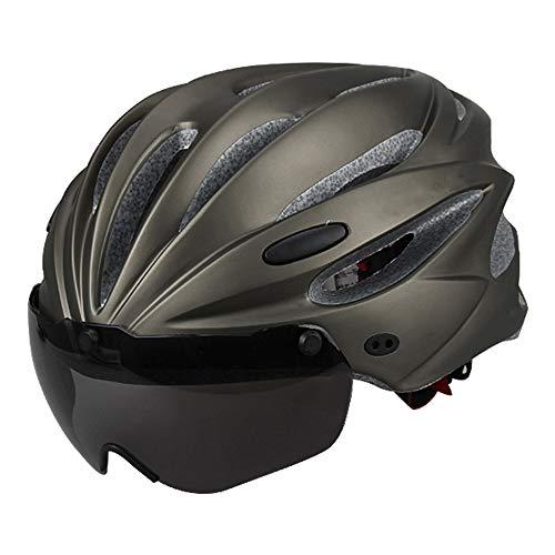 JIE KE Fahrradhelm mit Schutzbrille Integrierter Reithelm Schutz Kopf (5 Farben) (Farbe : B)