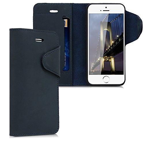 kalibri-Hlle-fr-Apple-iPhone-SE55S-Echtleder-Wallet-Case-Schutzhlle-mit-Fach-und-Stnder-in-Dunkelblau
