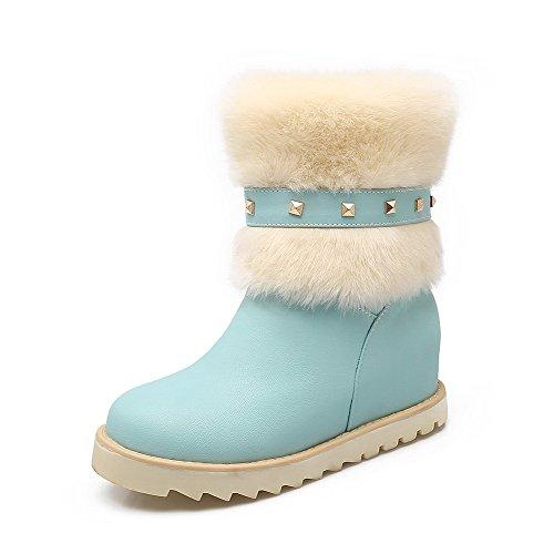 AgooLar Damen Mittler Absatz Niedrig-Spitze Eingelegt Ziehen Auf Stiefel Blau