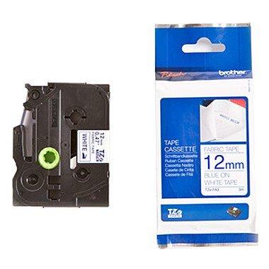 Preisvergleich Produktbild Beschriftungsband Textil für Brother P-Touch 2430 PC, Blau auf Weiss, 12 mm, Textilband zum einbügeln für PTouch 2430PC, 12mm breit