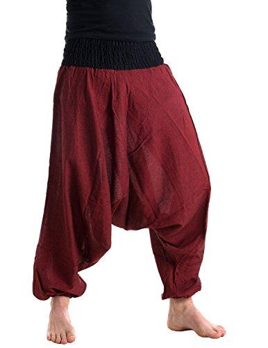Vishes - Alternative Bekleidung - Baumwoll Haremshose mit farbigem Bund dunkelrot-schwarz Einheitsgröße 34-44