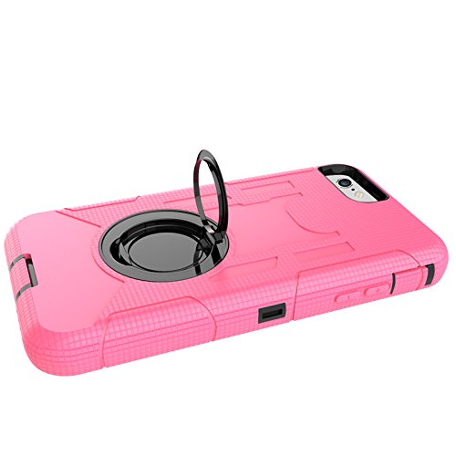 iPhone 8 Hülle, Heavy Duty Harte Rüstung Anti-Kratzer PU Silikon Handyhülle mit Ring Ständer / Kickstand Stoßfest Etui Shockproof Case Cover Kompletter Schutz Tasche Schutzhülle für Apple iPhone 8 (Ro Rosa