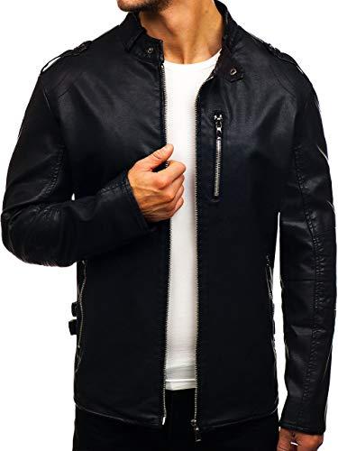 BOLF Herren Kunstlederjacke Casual Style Zipper J.Boyz 8002 Schwarz XXL [4D4]