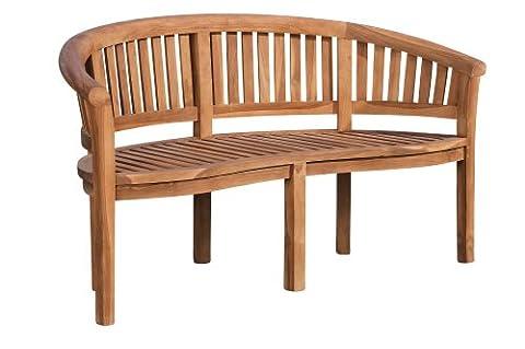 CLP Banc de jardin en bois de teck robuste WINNIPEG V2, avec dossier (6 tailles au choix), en forme arrondie 190 cm