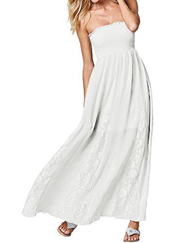 ACHIOOWA Femme Robe Longue sans Manches Épaules Dénudées Chic Casual Maxi Robe de Plage Soirée, Blanc, S