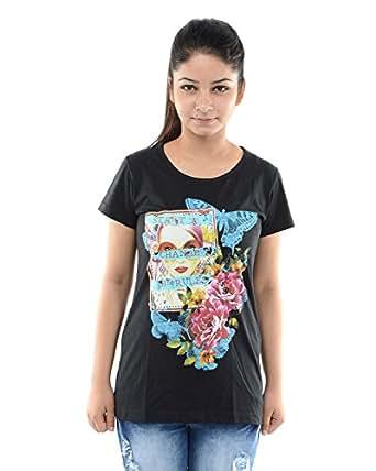 Sweet Touch Women's Round Collar T-Shirt (st-772406b_xl, Black, X-Large)