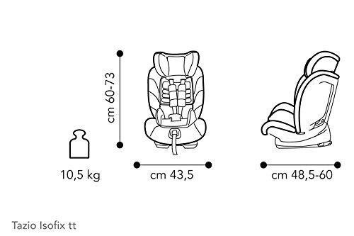 Brevi 534-258 Tazio TT con Top Tether, Gruppo 1/2/3 Reclinabile, 9-36 kg, Grigio