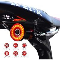 Luce Posteriore Smart Bike Ultra Bright, Luce accendisigari Ricaricabile per Moto, IPX6 Luci LED per Bicicletta Impermeabile per Qualsiasi Bici da Strada (Black)