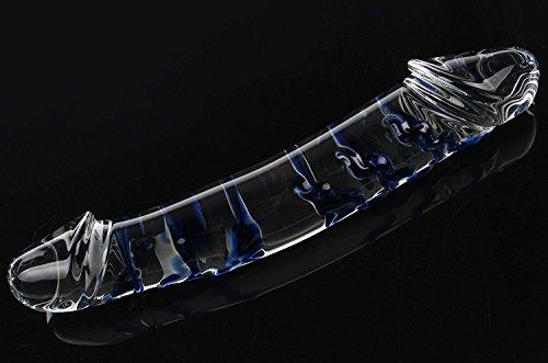 *Deluxe Ø 45MM-60MM Super big Textures Groß Glasdildo with Spiral Buttplug Sexspielzeug für Frauen & Männer Blau*