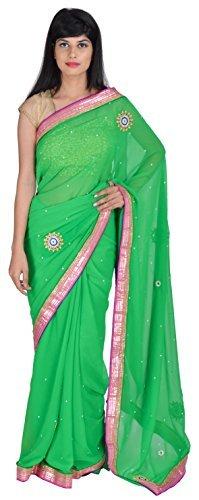 tanishq-designers-womens-georgette-saree-green