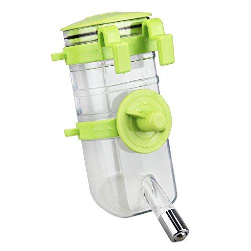 BXT Haustier Wassertränke Wasserflaschen Wasserspender Hundewasserbrunnen Aufhängen Tierzubehör für Hunde und Katze Welpen Kaninchen (Grün)