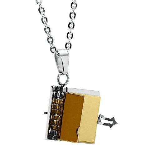 """AnazoZ Mode Bijoux Pendentif en acier inoxydable """"Love étages"""" livre Pendentif Collier pour Femme Choisissez Couleur Gold(Small)"""