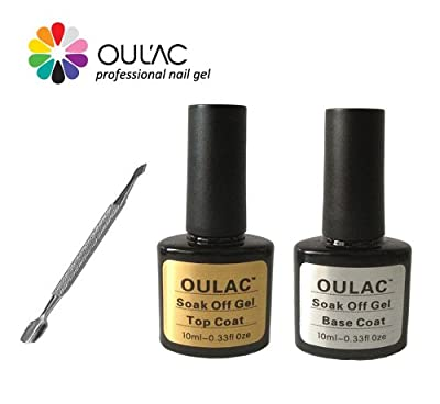 OULAC Top and Base Coat Soak Off UV LED Nail Gel Polish - Twin Pack with Cuticle Pusher