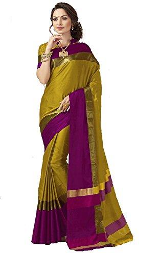 Perfectblue Women's Cotton Silk Saree with Blouse Piece (Mehndipurplevisva_Mehndi_Free Size)