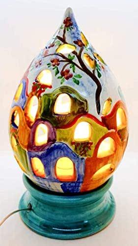 Lampada da tavolo comodino Multicolore Traforo Paesaggio Handmade Le Ceramiche del Castello Made in Italy