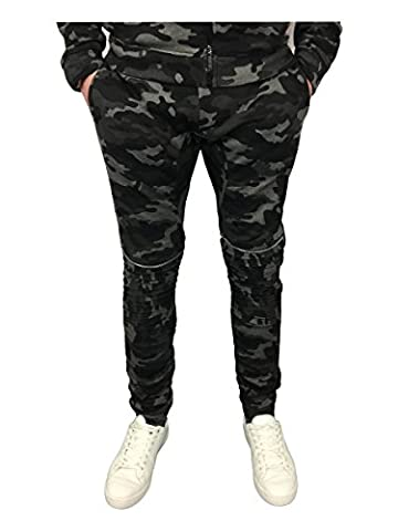 King Kouture Mens Skinny Fit Camo Biker Joggers with Zips in Black XL