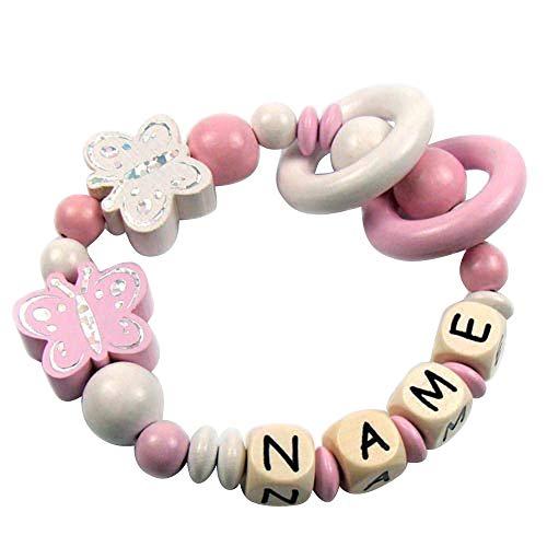 Premium Greifling mit Namen HOLZ Rassel Modell Schmetterling Glitzer rosa mit Glöckchen