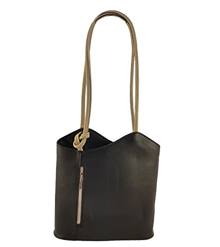 Freyday 2 in 1 Handtasche Rucksack Designer Luxus Henkeltasche aus Echtleder in versch. Designs (Glattleder Schwarz-Beige)