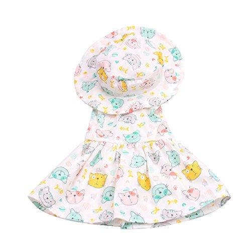 Homyl Süße Puppe Kleidung ärmellos Kleid & Runder Hut Puppenkleidung Set Für 43-45 cm Puppe Zubehör - Katze