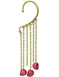 Via Mazzini Pink Skull Tassel Ear Cuff Earring (Single Piece)