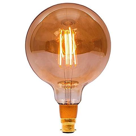 Bell 4W LED Ampoules classiques à filament-à intensité variable (Globe à 125mm ambre BC B22)