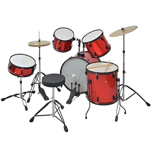 Festnight- kit batteria completa acciaio rivestito in polvere adulto/drum set rosso