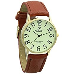 Unisex Gold Plated Mondex / Azaza / MABZ PU Leather Strap Watch (Brown Strap With Luminous Dial)