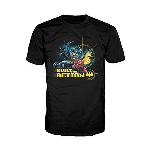 DC Comics Batman Built Action Official Men's T-Shirt (Black) (XX-Large)