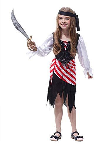 Lovelegis Größe M (110-120 cm) - Piratenkostüm - Mädchen - Maskerade Karneval Halloween Cosplay Zubehör (Piraten-kostüme Weibliche Ideen)
