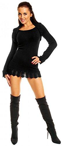 Zeta Ville - Vestito maglia - bordi all'uncinetto - bolero collo - Donna 402z Nero