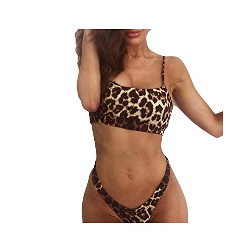 FJLOKE& Outdoor Women's Leopard Sling Swimsuit Push Up Bikinis Mujer New Sexy Hot Swimming Suit for Women with Chest pad Brown United States