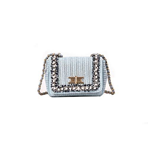 Frauen Mini Umhängetasche Damen Schultertasche Kleine Umhängetasche Retro Umhängetasche Stroh Handy Geldbörse Wallet (Blau)
