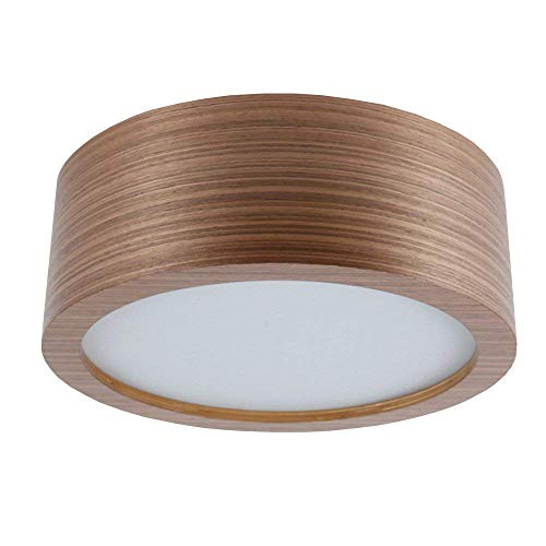 Deckenleuchte Holz Eiche dunkel Ø 35cm | Holzleuchte LED 2x6W | Deckenlampe E27 230V | Holzlampe inkl. 2x LED-Leuchtmittel 660lm extra warmweiß 2700K | Leuchte mit furnierter Holzoberfläche -