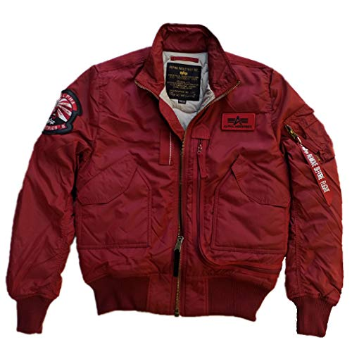 Alpha Industries Flight Jacket Engine Bomberjacke ist eine Bikerjacke aus 2-Tone Nylon mit L-Dokumententasche und gesticktem Lederpatch, Größe:XL, Farbe:Commander red Alpha Flight Jacket